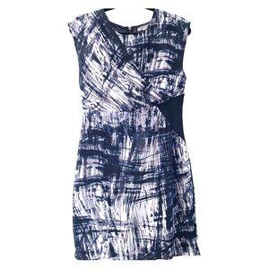 Blue & grey dress with scoop dress & back zipper